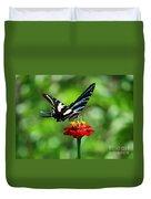Zebra Swallowtail Butterfly On A Red Zinnia Duvet Cover