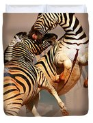 Zebras Fighting Duvet Cover