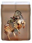 Zebras Fighting Duvet Cover