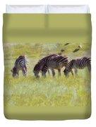 Zebras In Africa Duvet Cover
