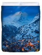 Zermatt - Winter's Night Duvet Cover