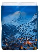 Zermatt - Winter's Night Duvet Cover by Brian Jannsen