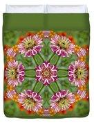 Zinging Zinnia Kaleidoscope Duvet Cover