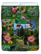 Zinnias Collage Rectangle Duvet Cover