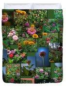 Zinnias Collage Square Duvet Cover