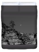 Zion National Park And Moon In Black And White Duvet Cover