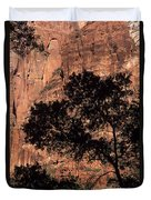 Zion National Park Canyon Walls With Silhouetted Trees In Front  Duvet Cover