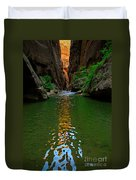 Zion Reflections - The Narrows At Zion National Park. Duvet Cover