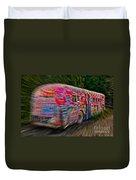Zooming Graffiti Bus Duvet Cover
