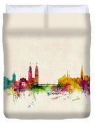 Zurich Switzerland Skyline Duvet Cover by Michael Tompsett