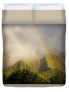 A Rainbow Shines Over The Rugged Duvet Cover