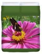Butterfly On Pink Flower Duvet Cover