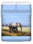 Elephant And Her Child Duvet Cover