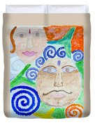 Faces Duvet Cover by Sonali Gangane