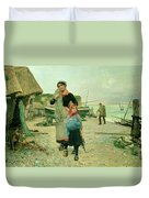 Fisherfolk Returning With Their Nets Duvet Cover