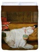Girl In A White Dress Resting On A Sofa Duvet Cover by Alfred Emile Stevens
