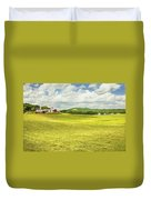 Hay Harvesting In Field Outside Red Barn Maine Duvet Cover