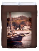 Old Ship Docked On The River Duvet Cover