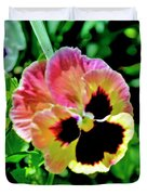 Pink And Yellow Pansy Duvet Cover