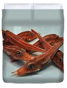 Red Cherry Shrimp In The Market Duvet Cover