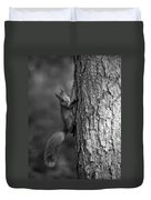 Red Squirrel In Bw Duvet Cover