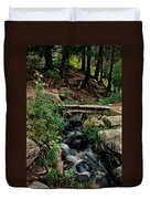 Stream In Tall Pines Duvet Cover