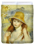 Young Girl With A Straw Hat Duvet Cover