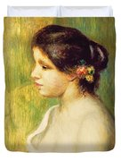 Young Woman With Flowers At Her Ear Duvet Cover