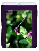 0003 Dragonfly Yoga On A Salvia Burgundy Candle Duvet Cover