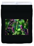 0004 Dragonfly Yoga On A Salvia Burgundy Candle Duvet Cover