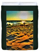 0008 Windy Waves Sunset Rays Duvet Cover