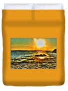 0009 Windy Waves Sunset Rays Duvet Cover