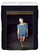 001 A Sunset With Eyes That Smile Soothing Sounds Of Waves For Miles Portrait Series Duvet Cover