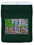 002 Fountain Plaza Duvet Cover