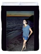 004 A Sunset With Eyes That Smile Soothing Sounds Of Waves For Miles Portrait Series Duvet Cover