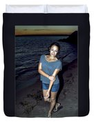 007 A Sunset With Eyes That Smile Soothing Sounds Of Waves For Miles Portrait Series Duvet Cover