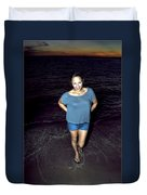 013 A Sunset With Eyes That Smile Soothing Sounds Of Waves For Miles Portrait Series Duvet Cover