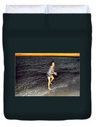 017 A Sunset With Eyes That Smile Soothing Sounds Of Waves For Miles Portrait Series Duvet Cover