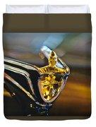 1956 Lincoln Premiere Convertible Hood Ornament Duvet Cover