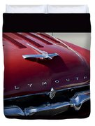 1956 Plymouth Hood Ornament Duvet Cover