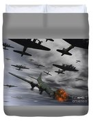 A B-17 Flying Fortress Is Set Ablaze Duvet Cover