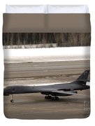 A B-1b Lancer Performs A Touch And Go Duvet Cover