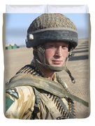 A British Army Soldier Provides Duvet Cover