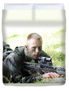 A British Soldier Armed With A Sa80 Duvet Cover