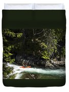 A Kayaker Paddles In A Rapid As Seen Duvet Cover