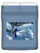 A Kc-135 Stratotanker Refuels An Fa-18 Duvet Cover by Stocktrek Images