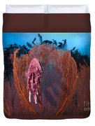 A Red Sea Fan With Sponge Colored Clam Duvet Cover