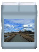A Road View In Wildlife Refuge Duvet Cover