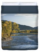 A Scenic View Of The Yellowstone River Duvet Cover