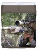 A Sniper Sights In On A Target Duvet Cover